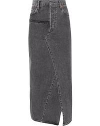Vetements Distressed Denim Maxi Skirt
