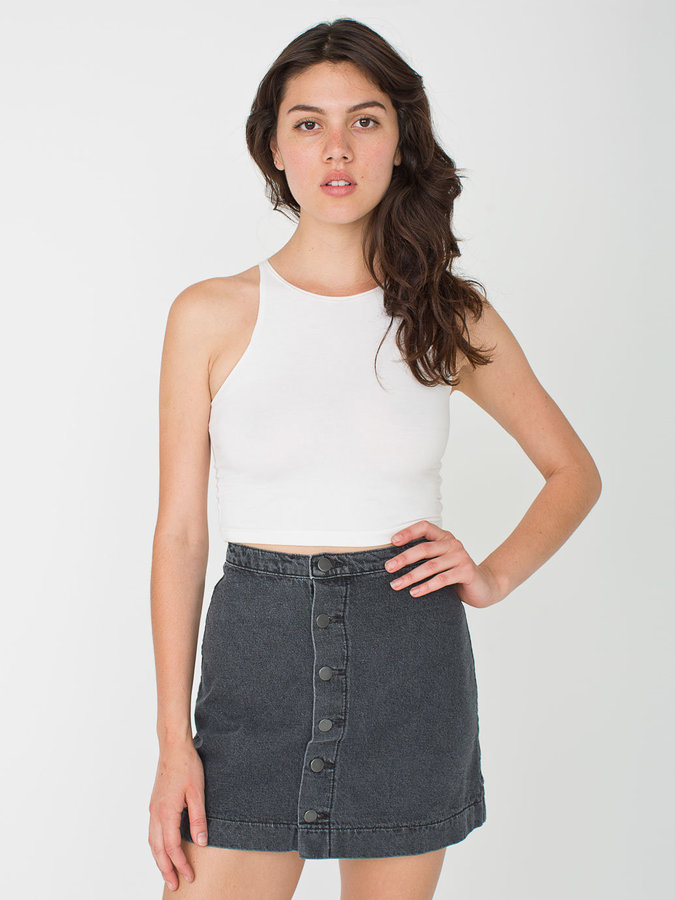 A Line Denim Button Skirt - Dress Ala