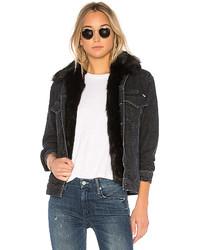 Charcoal Denim Shearling Jacket