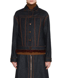 Agnona Denim Jacket Wfur Trim
