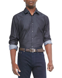 Hugo Boss Boss Upside Denim Shirt Charcoal