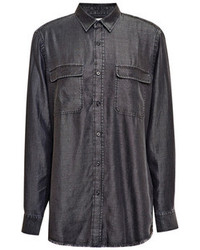 Each x other open back denim effect shirt grey medium 97165