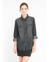 Mango grey denim shirt medium 97166