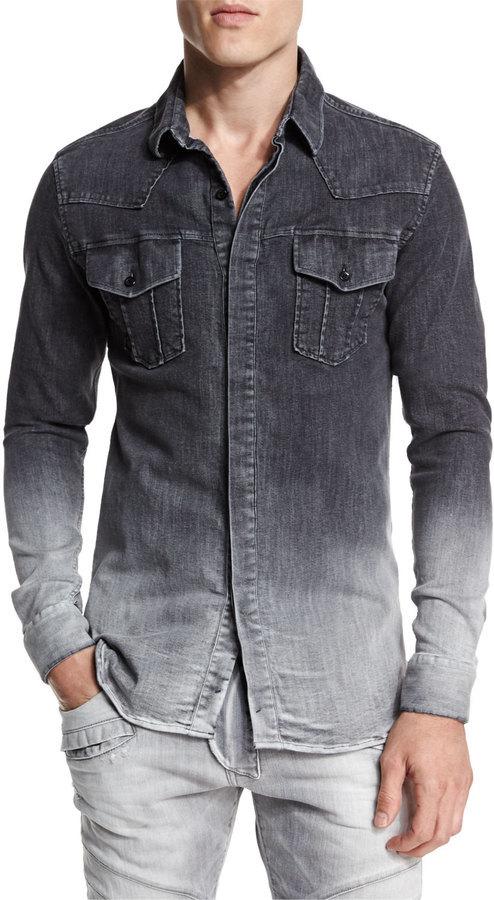 huippumuoti klassinen tyyli houkutteleva hinta $575, Pierre Balmain Ombre Denim Button Down Shirt Dark Gray