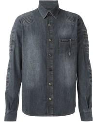 Philipp Plein Ribbed Panel Denim Shirt