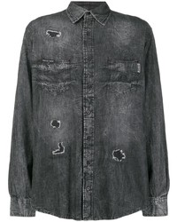 Philipp Plein Skull Crystal Denim Shirt