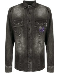Philipp Plein Stonewashed Long Sleeve Shirt