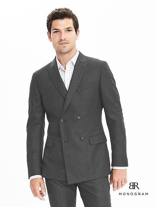 Banana Republic Slim Monogram Charcoal Plaid Wool Double Breasted ...