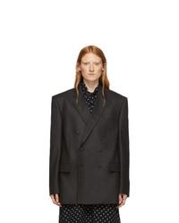Balenciaga Grey Camel Hair Double Breasted Blazer