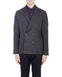 Lanvin Herringbone Double Breasted Sportcoat Black