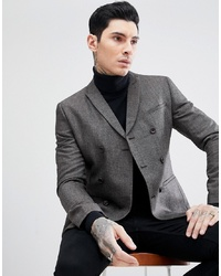 ASOS DESIGN Skinny Double Breasted Blazer In Grey Texture