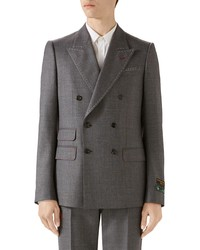 Gucci Stitch Detail Wool Sharkskin Jacket