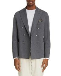 Eleventy Trim Fit Double Breasted Stretch Cotton Blend Blazer