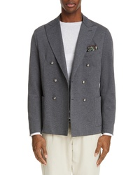Eleventy Trim Fit Double Breasted Stretch Cotton Blend Blazer
