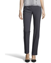 Tahari Charcoal Stretch Theora Flat Front Pants