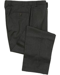 Ralph Lauren Flat Front Charcoal Gray Herringbone Wool Dress Pants