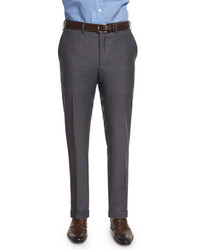 Kiton Flat Front Twill Trousers Charcoal