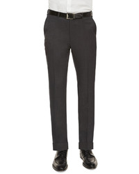 Flat front wool trousers charcoal medium 231810