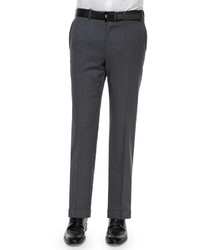 Flat front wool trousers gray medium 298439