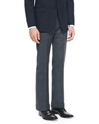 Giorgio Armani Melange Flat Front Trousers Charcoal