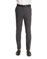 Micro tic flat front trousers charcoal medium 663826