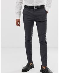 Burton Menswear Super Skinny Fit Stretch Smart Trousers In Grey