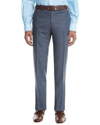 Kiton Tropical Wool Cashmere Flat Front Trousers Gray