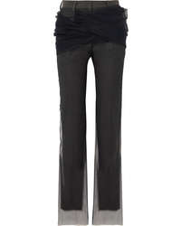 Y/Project Twisted Tulle And Twill Straight Leg Pants