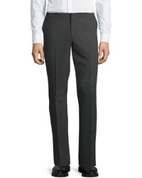 DKNY Wool Blend Straight Leg Trousers Gray