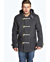 Boohoo Wool Mix Hooded Duffle Coat