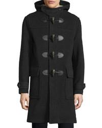 Burberry Brit Brockhurst Hooded Duffle Long Coat Dark Charcoal