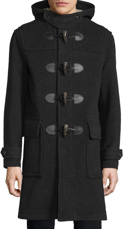 Burberry Brit Brockhurst Hooded Duffle Long Coat Dark Charcoal ...