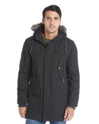 Elie Tahari Charcoal Herringbone Wool Blend Filled Hooded Duffle Coat