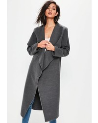 Missguided Grey Oversized Long Sleeve Waterfall Duster Coat