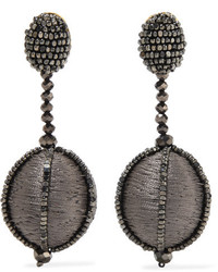 Oscar de la Renta Silk And Bead Clip Earrings Dark Gray