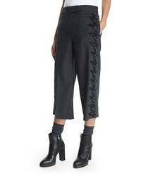 Brunello Cucinelli Embellished Houndstooth Cropped Pants Anthracite