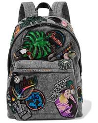 Marc Jacobs Paradise Biker Embellished Denim Backpack Dark Gray