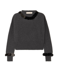 Marni Cropped Paillette Embellished Wool And Cashmere Blend Sweater