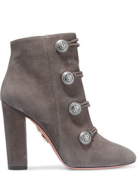 Aquazzura Rasputine Embellished Suede Ankle Boots Anthracite