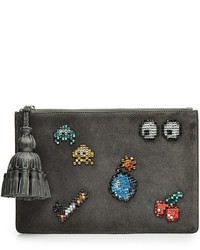 Anya Hindmarch Embellished Suede Georgiana Space Invaders Clutch