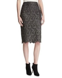 St. John Collection Plume Embroidered Guipure Lace Pencil Skirt