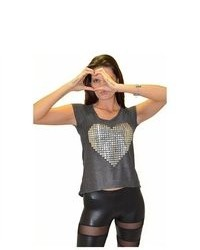 Soho Girl Heart Sequins Top Charcoal