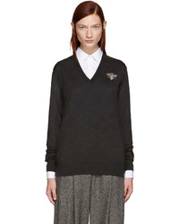 Dolce & Gabbana Grey Embroidered Sweater