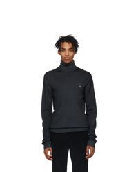Etro Grey Wool Jersey Turtleneck