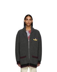 Stella McCartney Grey The Beatles Edition Virgin Wool Intarsia Zip Up Sweater