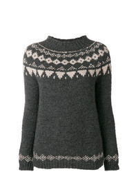 Charcoal Fair Isle Crew-neck Sweater
