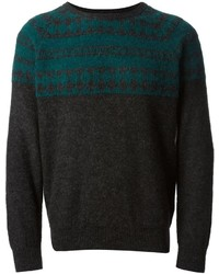 Charcoal Fair Isle Crew-neck Sweater