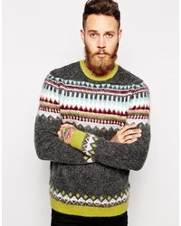 Asos Brand Fair Isle Sweater With Mohair