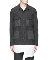 Comme Des Garons Homme Stripe Gart Dyed Cotton Blend Field Jacket