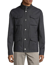 Brunello Cucinelli Short Field Stand Collar Jacket Charcoal